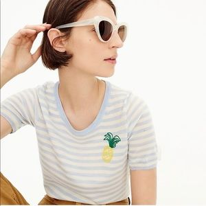 j. crew / tippi striped pineapple graphic wool top